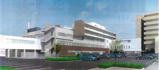 山口赤十字病院北病棟新築等工事の完成予想図 西面駐車場